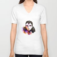 russian V-neck T-shirts featuring The Russian by Herwig Scherabon