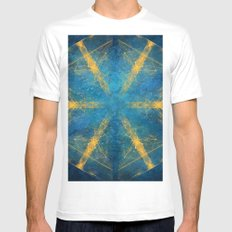 Tribal gold on blue kaleidoscope MEDIUM White Mens Fitted Tee