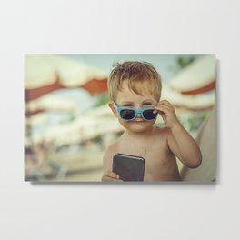 Little boss on the beach Metal Print