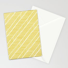 Herringbone 45 Yellow Stationery Cards