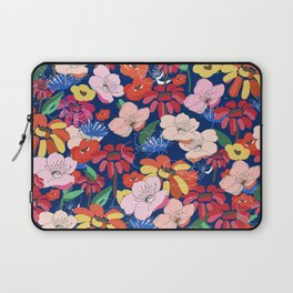 Summer Blooms - Navy Blue Laptop Sleeve