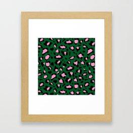 Leopard Print - green and pink Framed Art Print