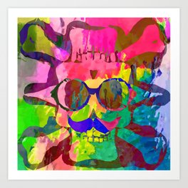 old vintage funny skull art portrait with painting abstract background in red pink yellow green blue Art Print