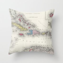 Vintage Map of The Caribbean (1865) Throw Pillow