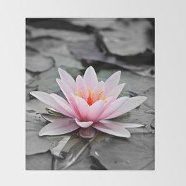 Pink Lotus Flower Waterlily Throw Blanket