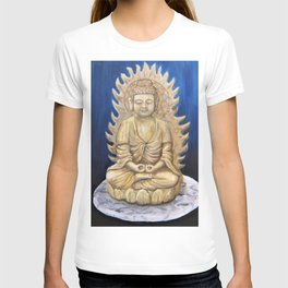 Meditation Buddha Oil Painting Still Life Peaceful Spiritual (Tranquil Space) T-shirt