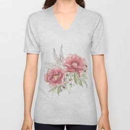 Watercolor Flowers - Garden Roses Unisex V-Neck