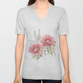Watercolor Flowers - Garden Roses Unisex V-Neck