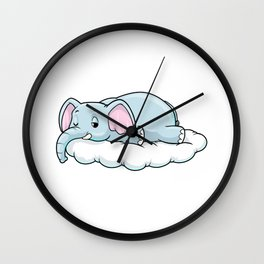 Elephant at Sleeping on Clouds Wall Clock