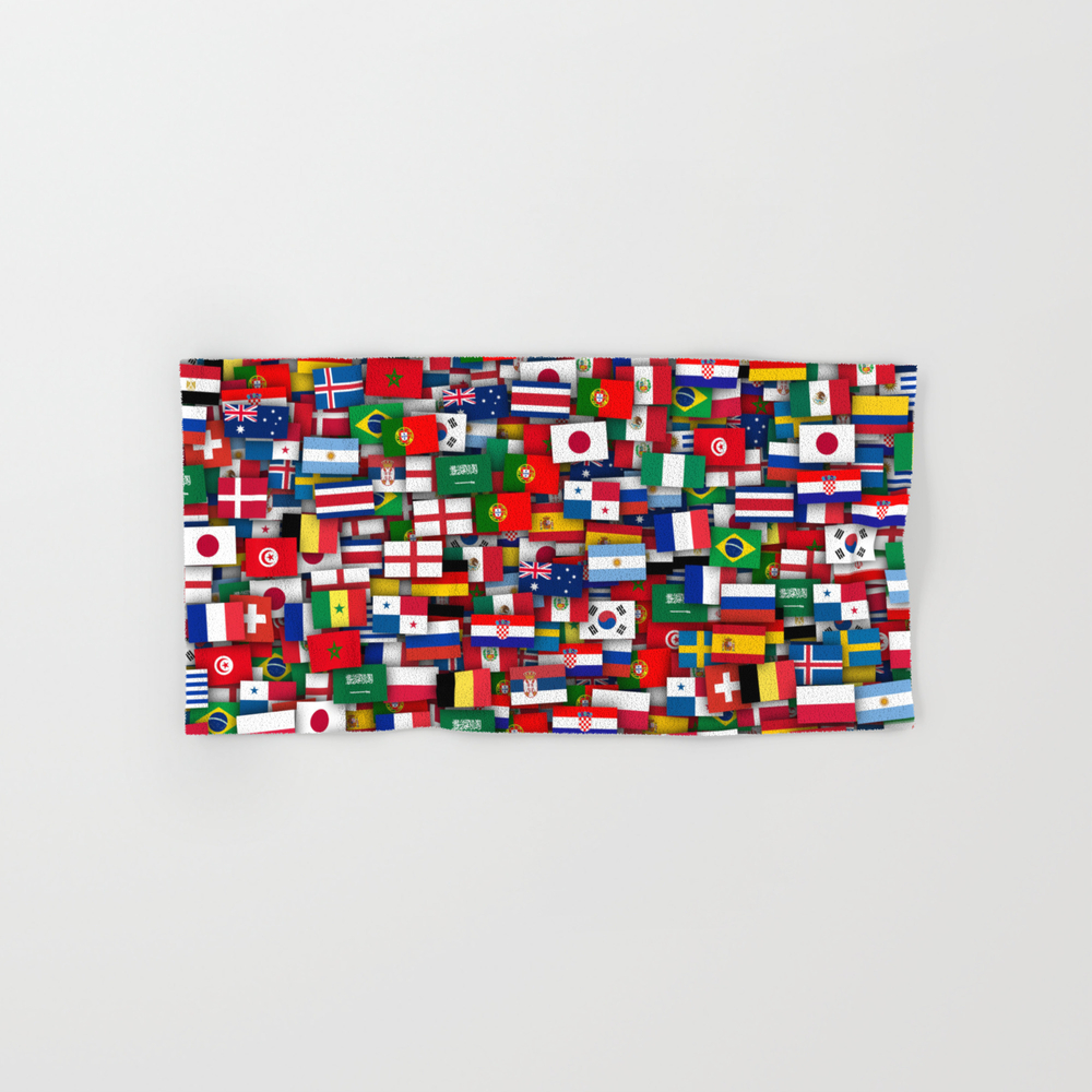 Football World Cup 2018. Flags Of All Teams Hand Towel by Dima_v BTL8894321