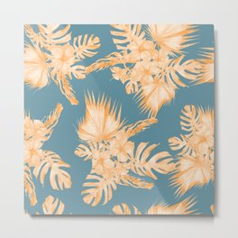 Hawaiian Hibiscus Palm Orange Teal Blue Metal Print