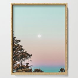 Rainbow Color Sunset // Incredible Clear Sky Photograph Through the Forest Trees Serving Tray
