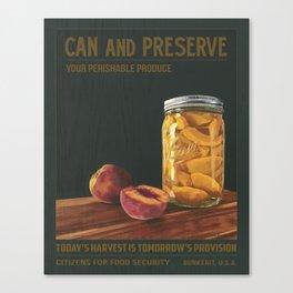 Can & Preserve -Mason Jar Peaches Canvas Print
