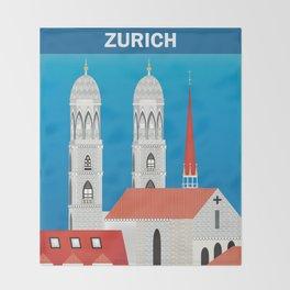 Zurich, Switzerland - Skyline Illustration by Loose Petals Throw Blanket