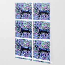 HORSE AND FLOWER PETALS OIL PAINTING Wallpaper