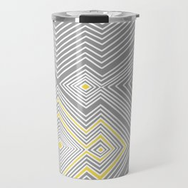 White, Yellow, and Gray Lines - Illusion Travel Mug
