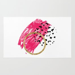 Abstract Black, Pink, & Faux Gold Brushstrokes Rug