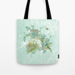 Modern vintage mint marble floral landscape Tote Bag