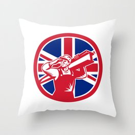 British Construction Worker Union Jack Flag Icon Throw Pillow