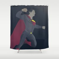 superman Shower Curtains featuring Superman by Poly Iconik Art