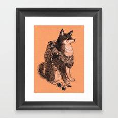 Shibe doge with mushrooms Framed Art Print