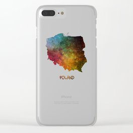 Poland map Clear iPhone Case