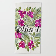 Killin' It – Tropical Pink Beach Towel