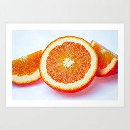 Orange Half And Two Quarters On White Art Print