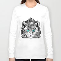 snow leopard Long Sleeve T-shirts featuring Snow Leopard by chobopop