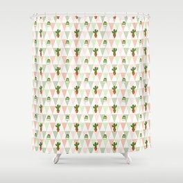 Hand painted pink coral green geometrical cactus Shower Curtain