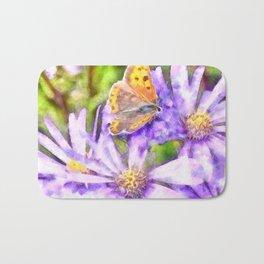 Orange Wings and Purple Petals Bath Mat