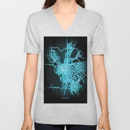 El Paso, TX, USA, Blue, White, Neon, Glow, City, Map Unisex V-Neck