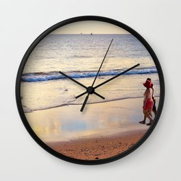 Relaxing Time on the Beach Sunday Afternoon Wall Clock