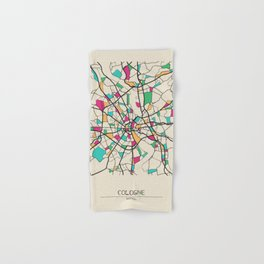 Colorful City Maps: Cologne, Germany Hand & Bath Towel
