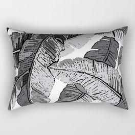 BANANA PALM LEAF PARADISE BLACK AND WHITE PATTERN Rectangular Pillow