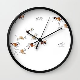 Beagles hunting Wall Clock