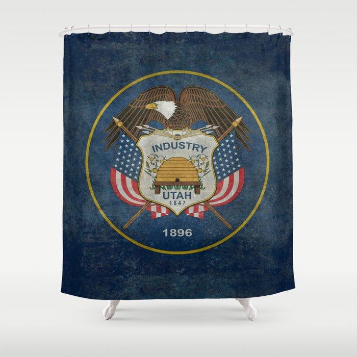 Utah State Flag, vintage retro style Shower Curtain