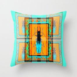 DOUBLE EXPOSURE TURQUOISE BEETLE ORANGE ART Throw Pillow