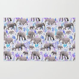 Sweet Elephants in Aqua, Purple, Cream and Grey Rug