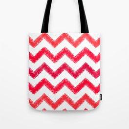 Red Chalk Chevron Tote Bag