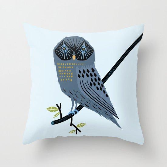 The Perching Owl Throw Pillow