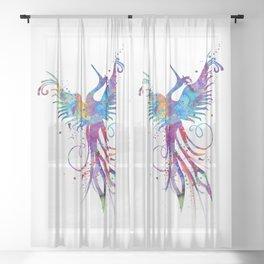 Phoenix Watercolor Print Nursery Art Gift for Her Bird Art Sheer Curtain