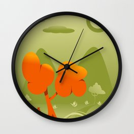 drawing of a landscape in shades of green and orange Wall Clock