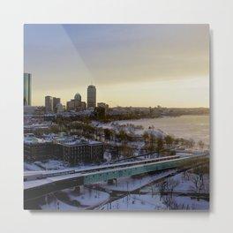 Boston Skyline Charles River Winter City Metro Photography Metal Print