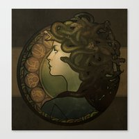 nouveau Canvas Prints featuring Medusa Nouveau by Megan Lara