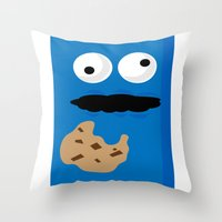 cookie monster Throw Pillows featuring Cookie Monster by Callum McGoldrick