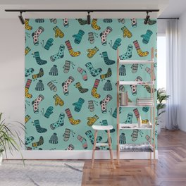 Socks and Mittens Pattern Wall Mural