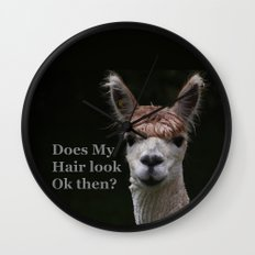 Funny hairstyle alpaca Wall Clock