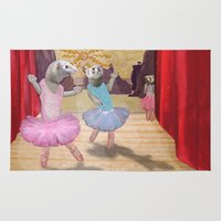 ferret Area & Throw Rugs featuring Ferret Ballet Dance Art  by Scalmato Studio