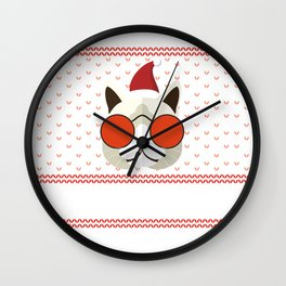 Funny Cat Ugly Christmas Sweater T-Shirt Wall Clock